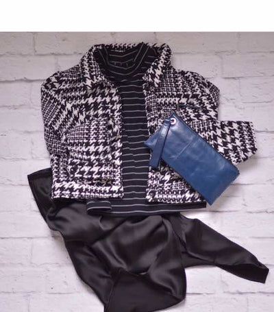 Houndstooth Crop Jacket