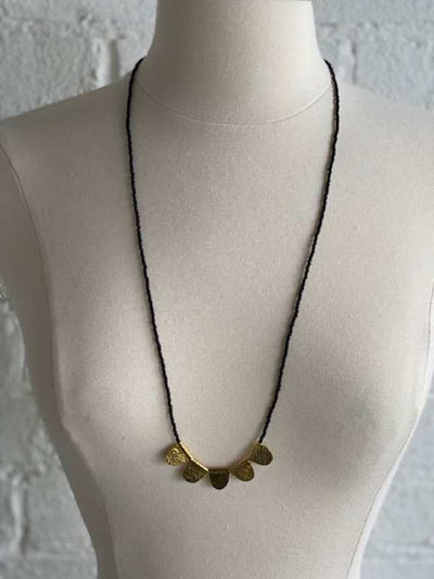 Golden Hammer Disk Necklace- Amsha