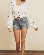 Spaced Polka Dot Knot Front Shirt