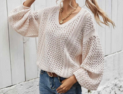 Long Sleeve Balloon Sleeve Sweater