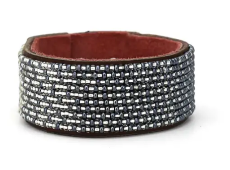 Medium Beaded Leather Cuff- Swahili Coast