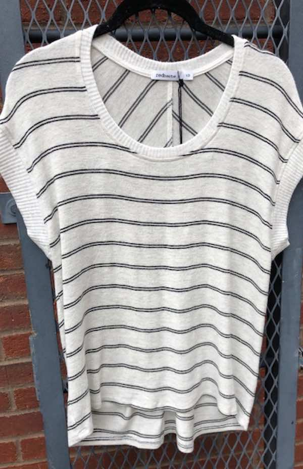 Stripe Pleat Back Drop Shoulder Top