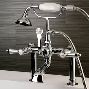 "Heirloom Three Handle 7"" Centers Deck-Mount 2-Hole Clawfoot Tub Filler Faucet w/Metal Lever and Hand Shower, 1.8 gpm & 13.3 gpm"