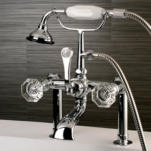 "Celebrity Three Handle 7"" Centers Deck-Mount 2-Hole Clawfoot Tub Filler Faucet w/Crystal Knob and Hand Shower, 1.8 gpm & 13.3 gpm"