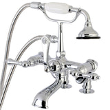 "Vintage Two Handle 7"" Centers Deck-Mount 2-Hole Clawfoot Tub Filler Faucet w/Metal Cross and Hand Shower, 1.8 gpm & 13.3 gpm"