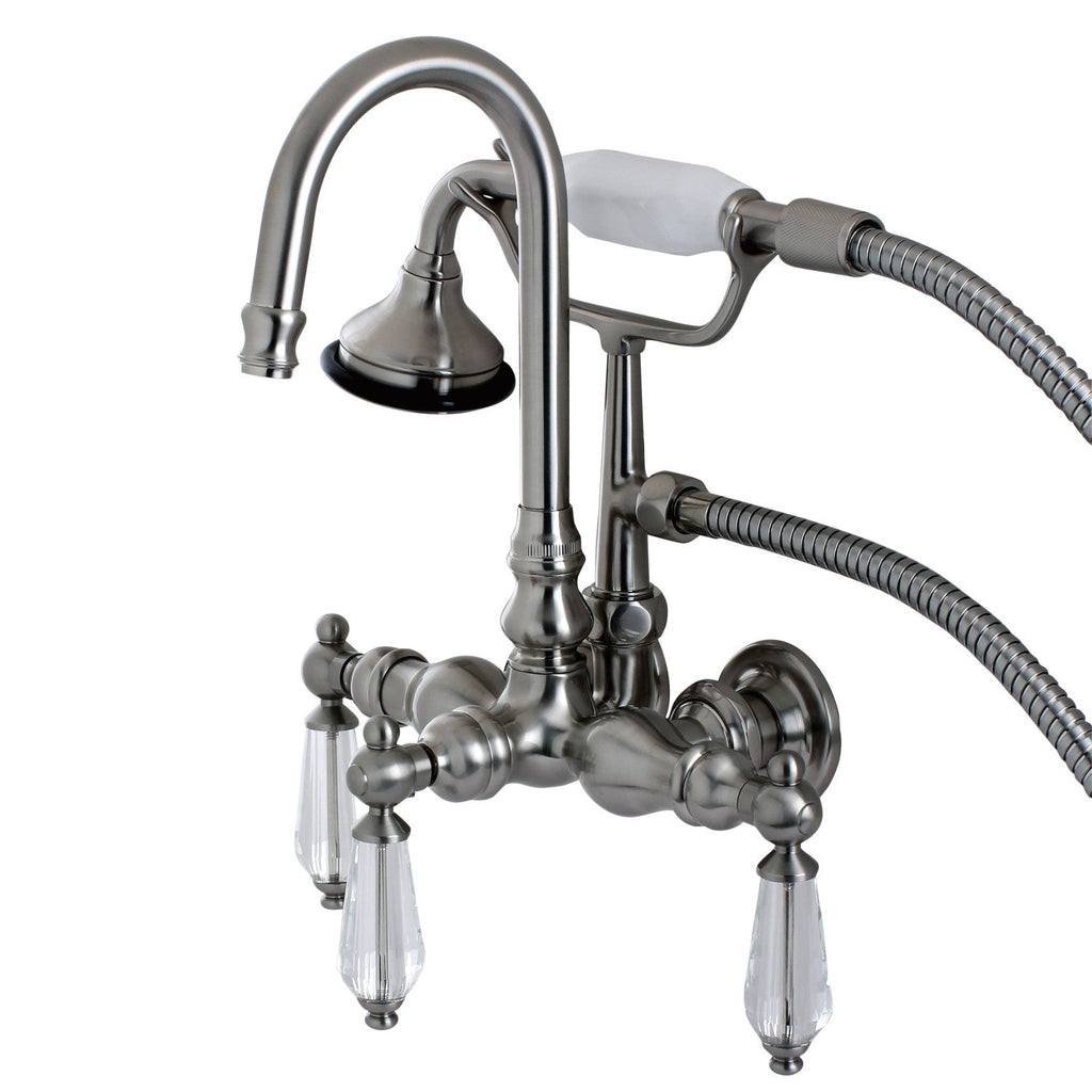 "Wilshire Three Handle 3-3/8"" Centers Wall-Mount 2-Hole Clawfoot Tub Filler Faucet w/Crystal Lever Lever and Hand Shower, 1.8 gpm & 7.5 gpm"