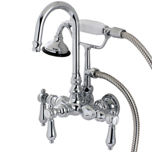 "Heirloom Three Handle 3-3/8"" Centers Wall-Mount 2-Hole Clawfoot Tub Filler Faucet w/Metal Lever and Hand Shower, 1.8 gpm & 7.5 gpm"