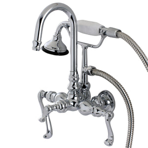 "Royale Three Handle 3-3/8"" Centers Wall-Mount 2-Hole Clawfoot Tub Filler Faucet w/Metal Lever and Hand Shower, 1.8 gpm & 7.5 gpm"