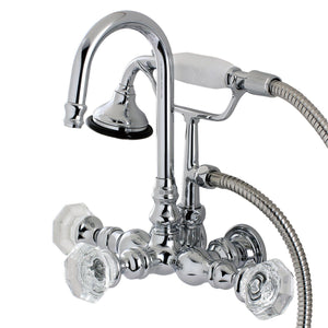 "Celebrity Three Handle 3-3/8"" Centers Wall-Mount 2-Hole Clawfoot Tub Filler Faucet w/Crystal Knob and Hand Shower, 1.8 gpm & 7.5 gpm"