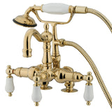 "Vintage Three Handle 3-3/8"" Centers Deck-Mount 2-Hole Clawfoot Tub Filler Faucet w/Porcelain Lever and Hand Shower, 1.8 gpm & 7.0 gpm"