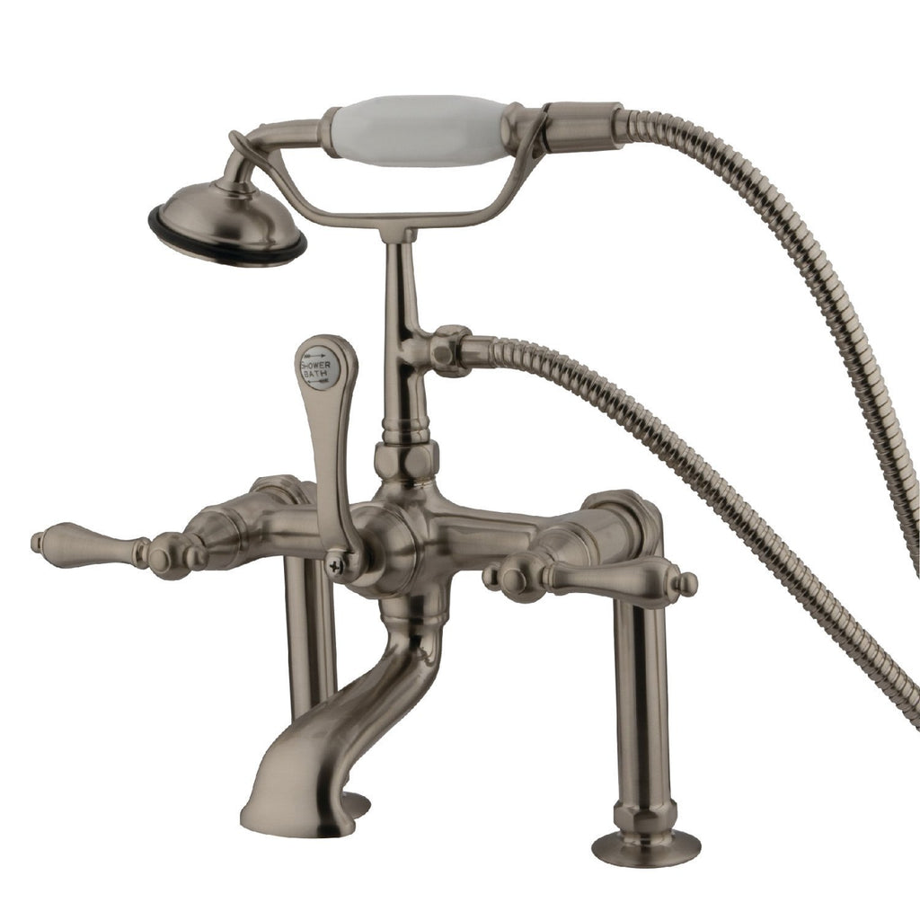 "Vintage Three Handle 7"" Centers Deck-Mount 2-Hole Clawfoot Tub Filler Faucet w/Metal Lever and Hand Shower , 1.8 gpm & 7.0 gpm"