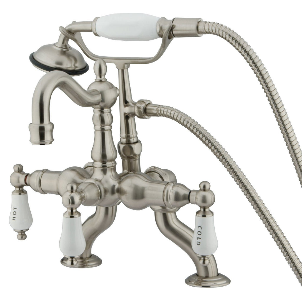 "Vintage 3-3/8"" - 10"" Adjustable Centers Deck-Mount 2-Hole Clawfoot Tub Filler Faucet w/Porcelain Lever and Hand Shower, 1.8 gpm & 7.0 gpm"