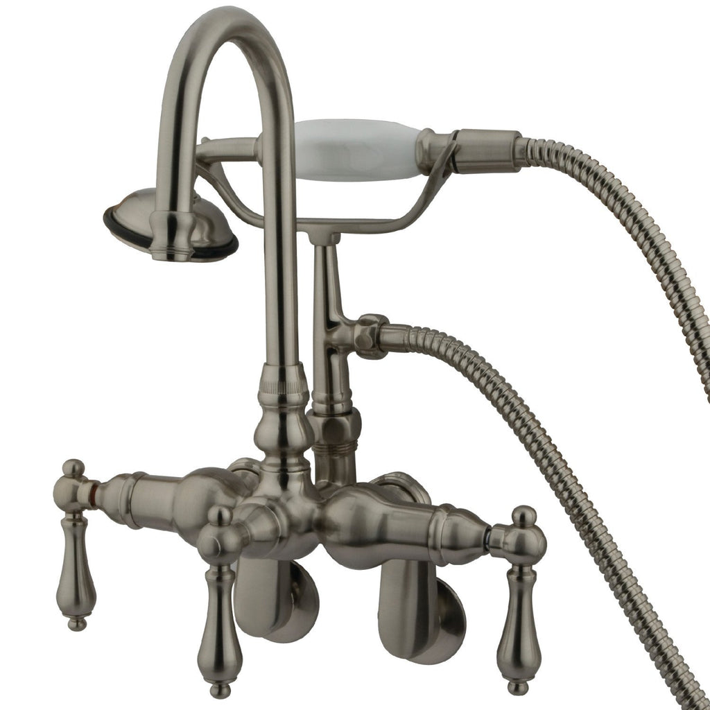 "Vintage Two Handle 2-1/4"" - 8-3/4""Adjustable Centers Wall-Mount 2-Hole Clawfoot Tub Filler Faucet w/Metal Lever and Hand Shower, 1.8 gpm & 7.0 gpm"
