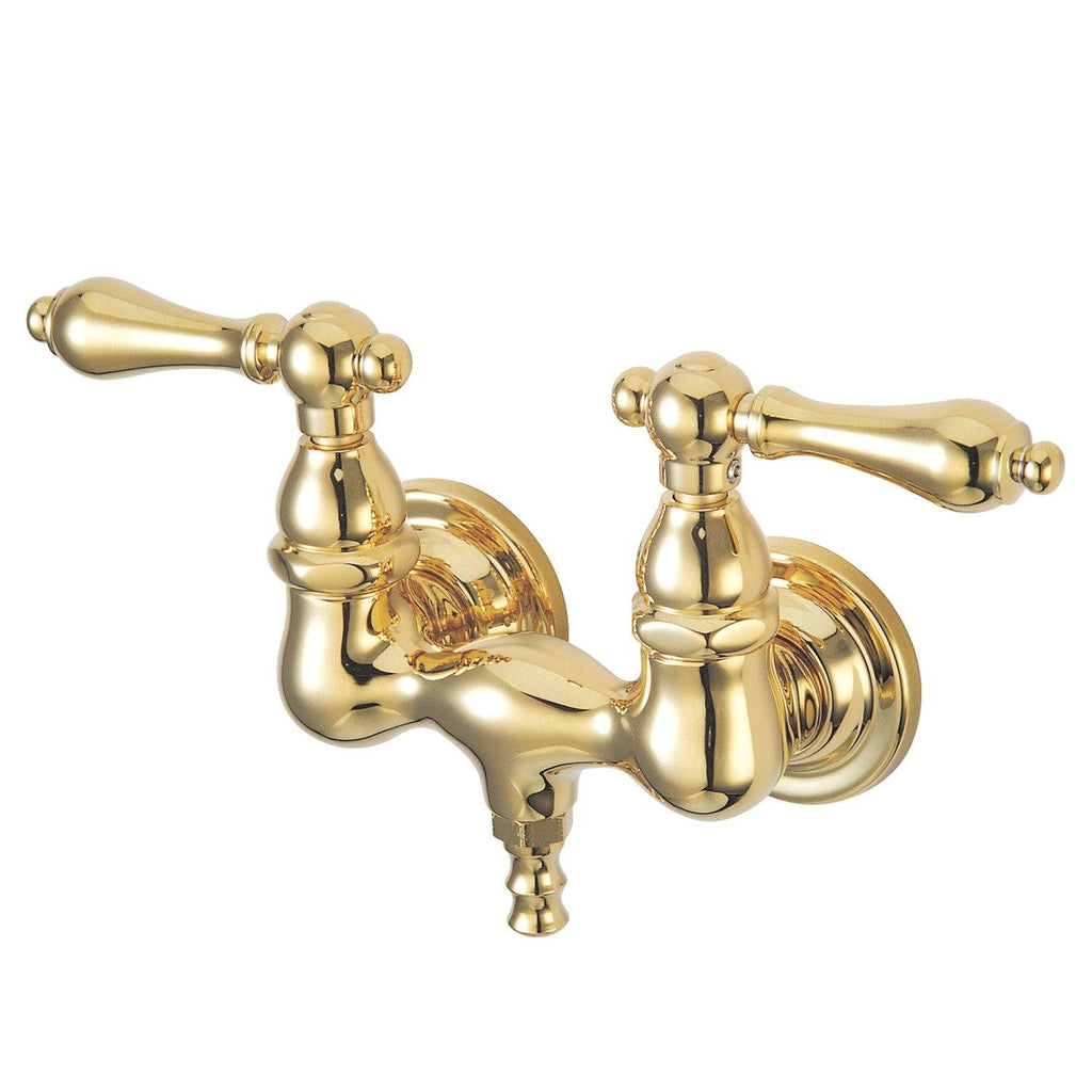 "Vintage Two Handle 3-3/8"" Wall Mount 2-Hole Clawfoot Tub Filler Faucet w/Metal Lever, 7.0 gpm"