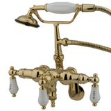 Vintage Three Handle 3-3/8?-10? Adjustable Centers 2-Hole Wall Mount Clawfoot Tub Filler Faucet w/Porcelain Lever and Hand Shower, 1.8 gpm & 7.0 gpm