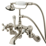 Vintage three Handle 3-3/8?-10? Adjustable Centers 2-Hole Wall Mount Clawfoot Tub Filler Faucet w/Metal Cross and Hand Shower, 1.8 gpm & 7.0 gpm