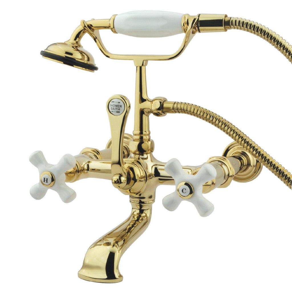 "Vintage Three Handle 7"" Centers Wall-Mount 2-Hole Clawfoot Tub Filler Faucet w/Porcelain Cross and Hand Shower, 1.8 gpm & 7.0 gpm"