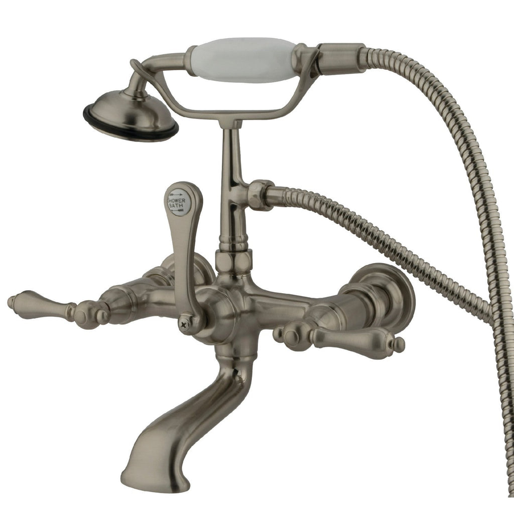 "Vintage Three Handle 7"" Centers Wall-Mount 2-Hole Clawfoot Tub Filler Faucet w/Metal Lever and Hand Shower, 1.8 gpm & 7.0 gpm"