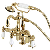 Vintage Three-Handle 2-Hole Deck Mount Clawfoot Tub Faucet with Hand Shower