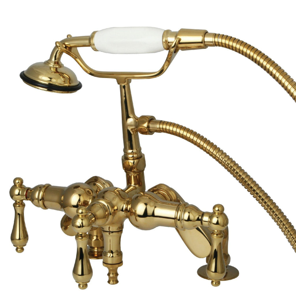 "Vintage Three Handle 3-8"" Adjustable Centers Deck-Mount 2-Hole Clawfoot Tub Filler Faucet w/Metal Lever and Hand Shower, 1.8 gpm & 7.0 gpm"
