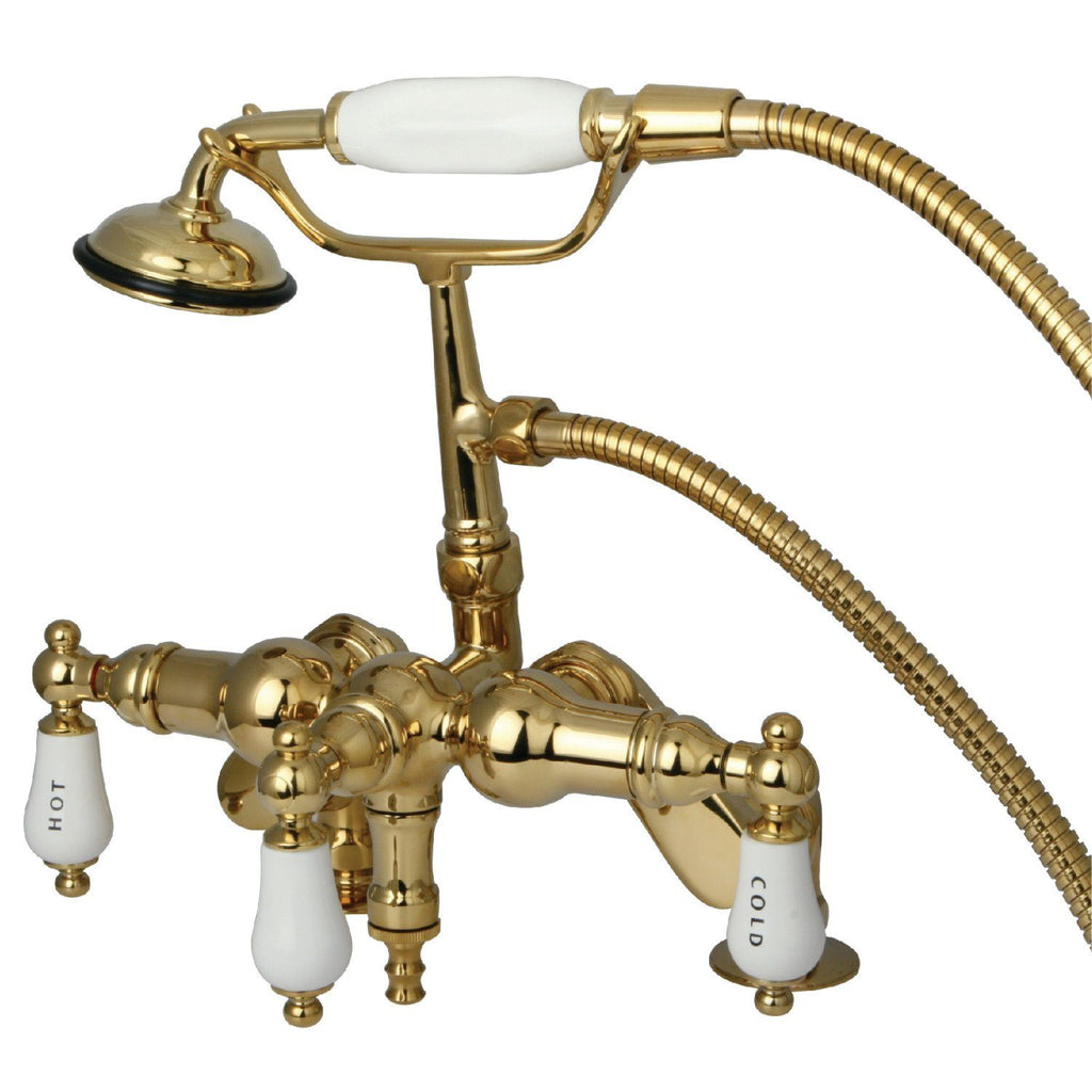 "Vintage Three Handle 3-8"" Adjustable Centers Deck-Mount 2-Hole Clawfoot Tub Filler Faucet w/Porcelain Lever and Hand Shower, 1.8 gpm & 7.0 gpm"