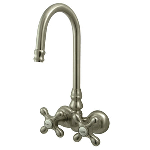 "Vintage Two Handle 3-3/8"" Wall-Mount 2-Hole Clawfoot Tub Filler Faucet w/Metal Cross, 7.0 gpm"