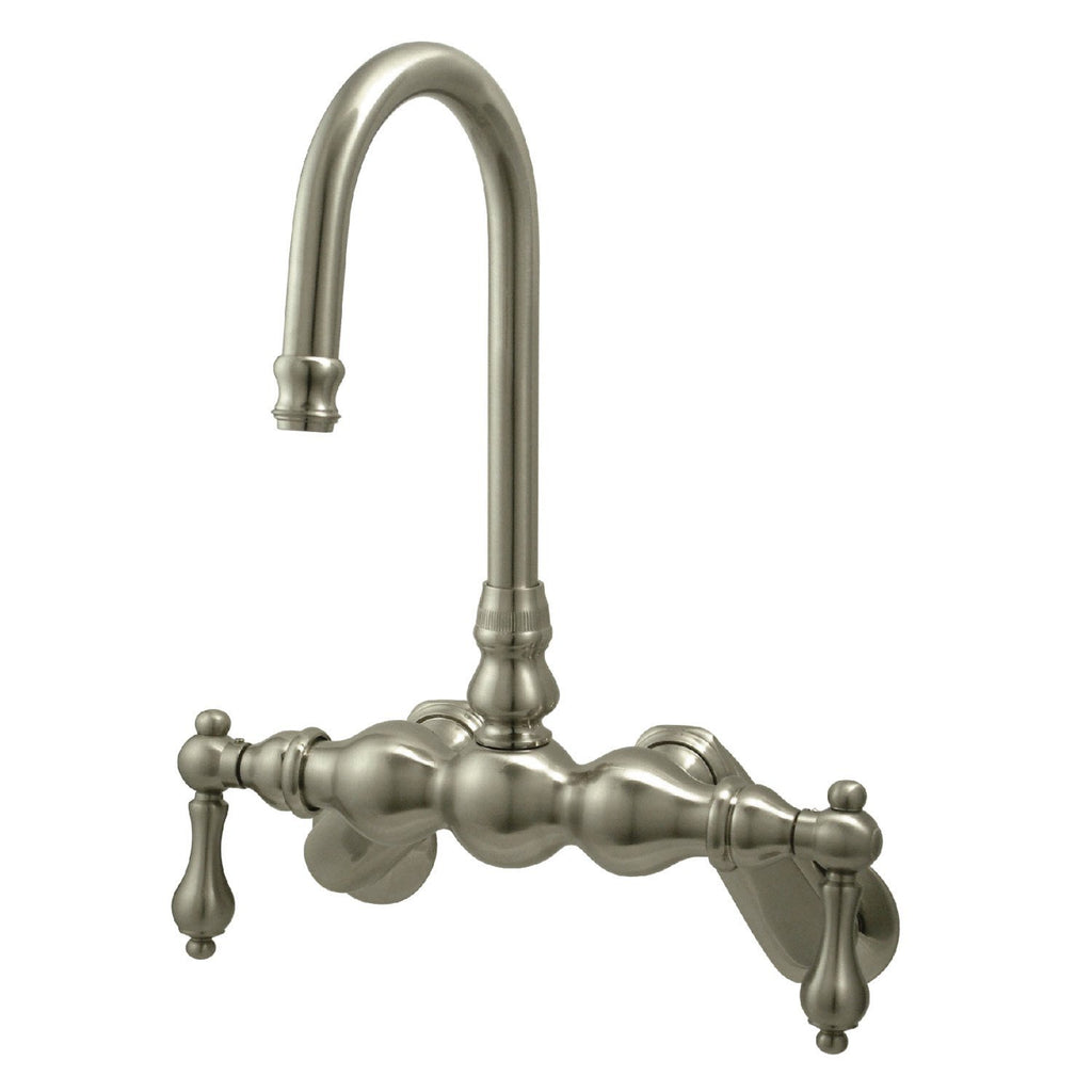 "Vintage Two Handle 2-1/4"" - 8-3/4"" Adjustable Centers Wall-Mount 2-Hole Clawfoot Tub Filler Faucet w/Metal Lever, 7.0 gpm"