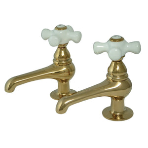 Vintage Two Handle Basin Tap Faucet Set w/Porcelain Cross, 1.2 gpm