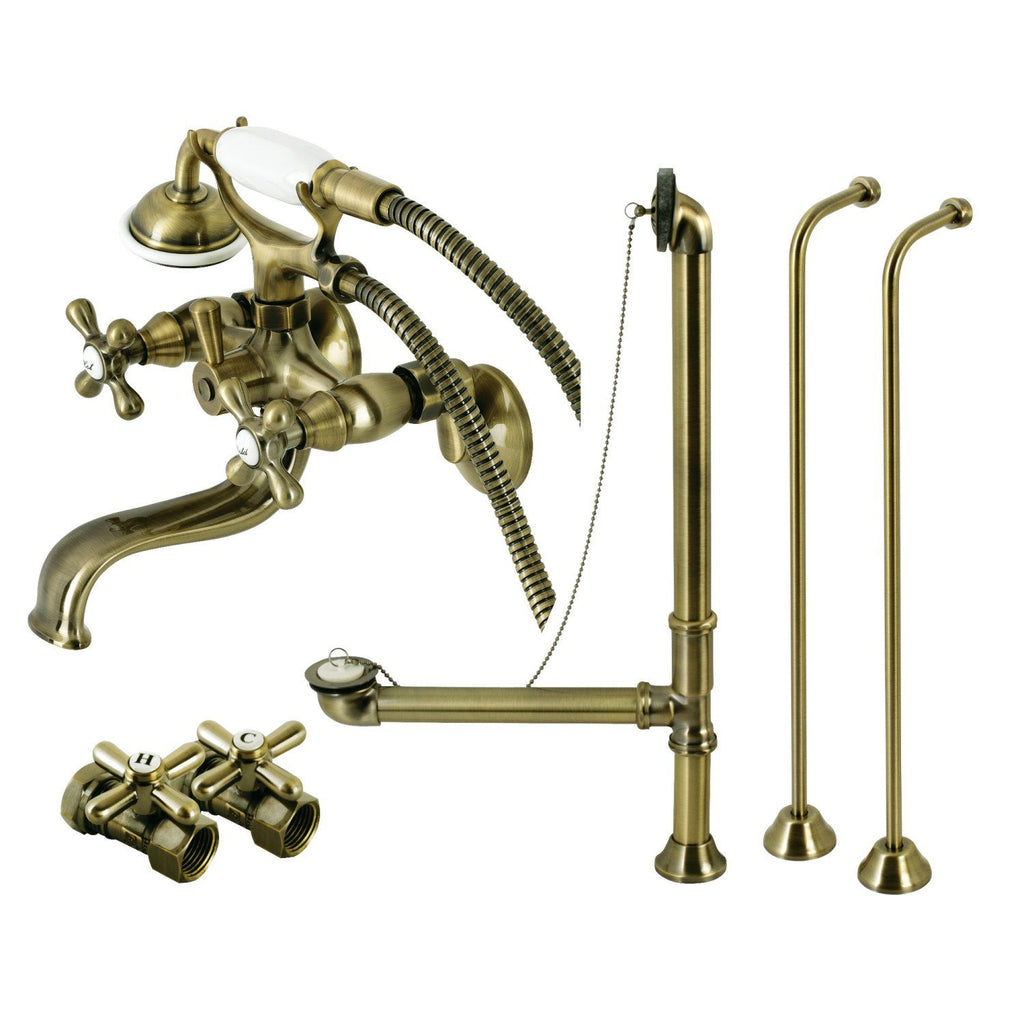 Vintage Three-Handle 2-Hole Tub Wall Mount Clawfoot Tub Faucet Package with Supply Line and Tub Drain