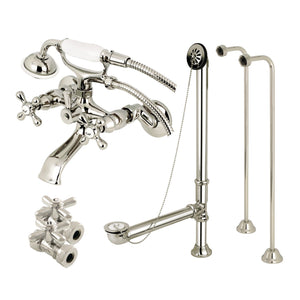 Vintage Two-Handle 2-Hole Tub Wall Mount Clawfoot Tub Faucet Package with Supply Line and Hand Shower