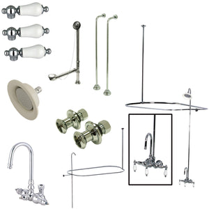Vintage Wall Mount High Rise Clawfoot Tub and Shower Package with Porcelain Lever Handles