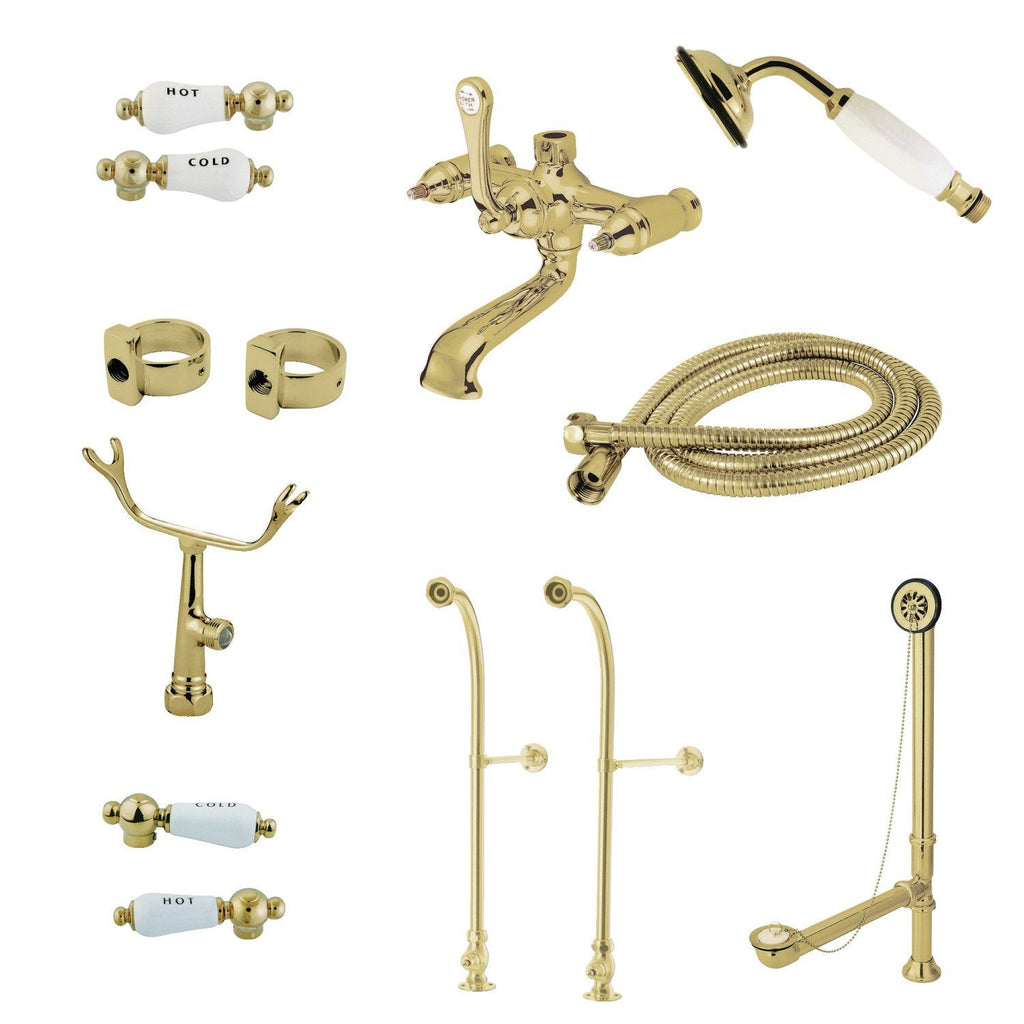 Vintage Freestanding Clawfoot Tub Faucet Package with Supply Line