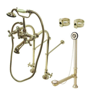 Vintage Freestanding Clawfoot Tub Faucet Package with Metal Cross Handles