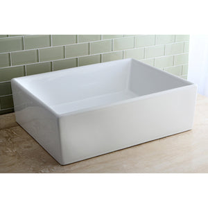 "Elements White Vitreous China Bathroom Vessel Sink (L)18-11/16"" x (W)14-3/4"" x (H) 6-5/16"""