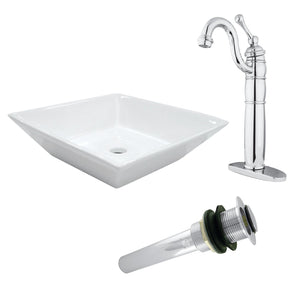 Vessel Sink With Heritage Sink Faucet and Drain Combo
