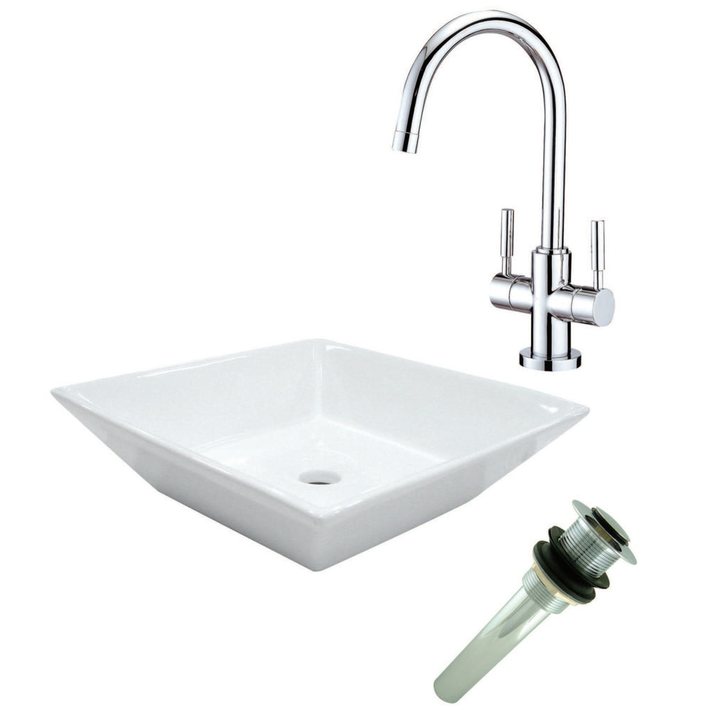 Vessel Sink With Concord Sink Faucet and Drain Combo