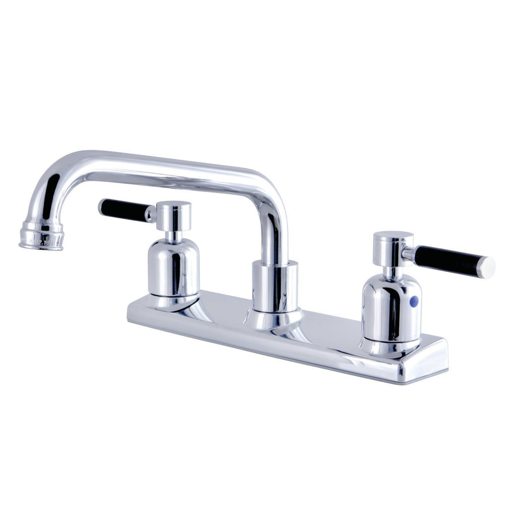 "Kaiser Two Handle 8"" Centerset 2-Hole Kitchen Faucet w/Metal Lever, 1.8 gpm"