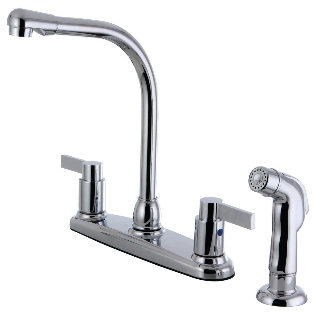 "NuvoFusion Two Handle 8"" Centerset 4-Hole Kitchen Faucet w/Metal Lever and Side Spray, 1.8 gpm"