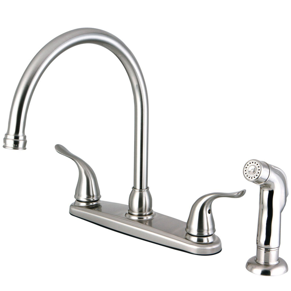 "Yosemite Two Handle 8"" Centerset 4-Hole Kitchen Faucet w/Metal Lever and Side Spray, 1.8 gpm"