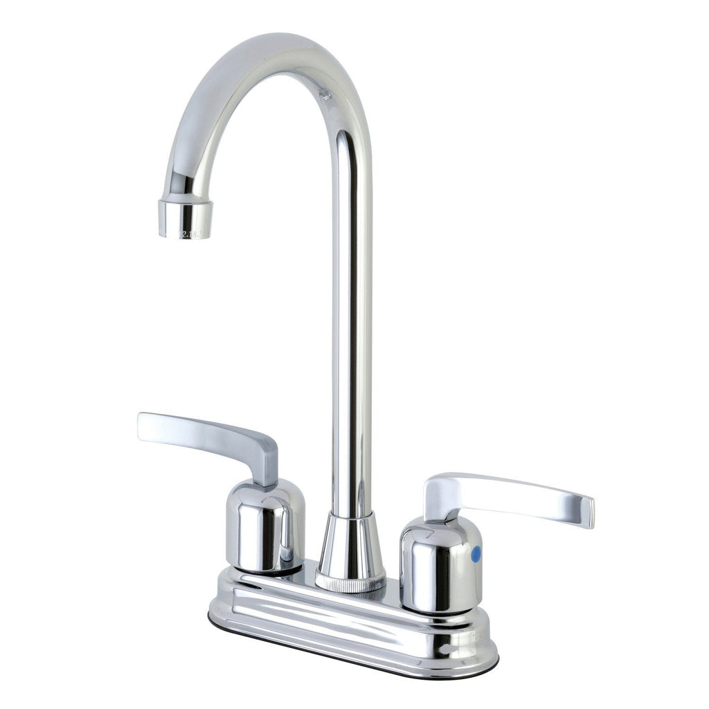 "Centurion Two Handle 4"" Centerset 3-Hole High-Arch Spout Bar Prep Faucet w/ Metal Lever, 1.5 gpm"