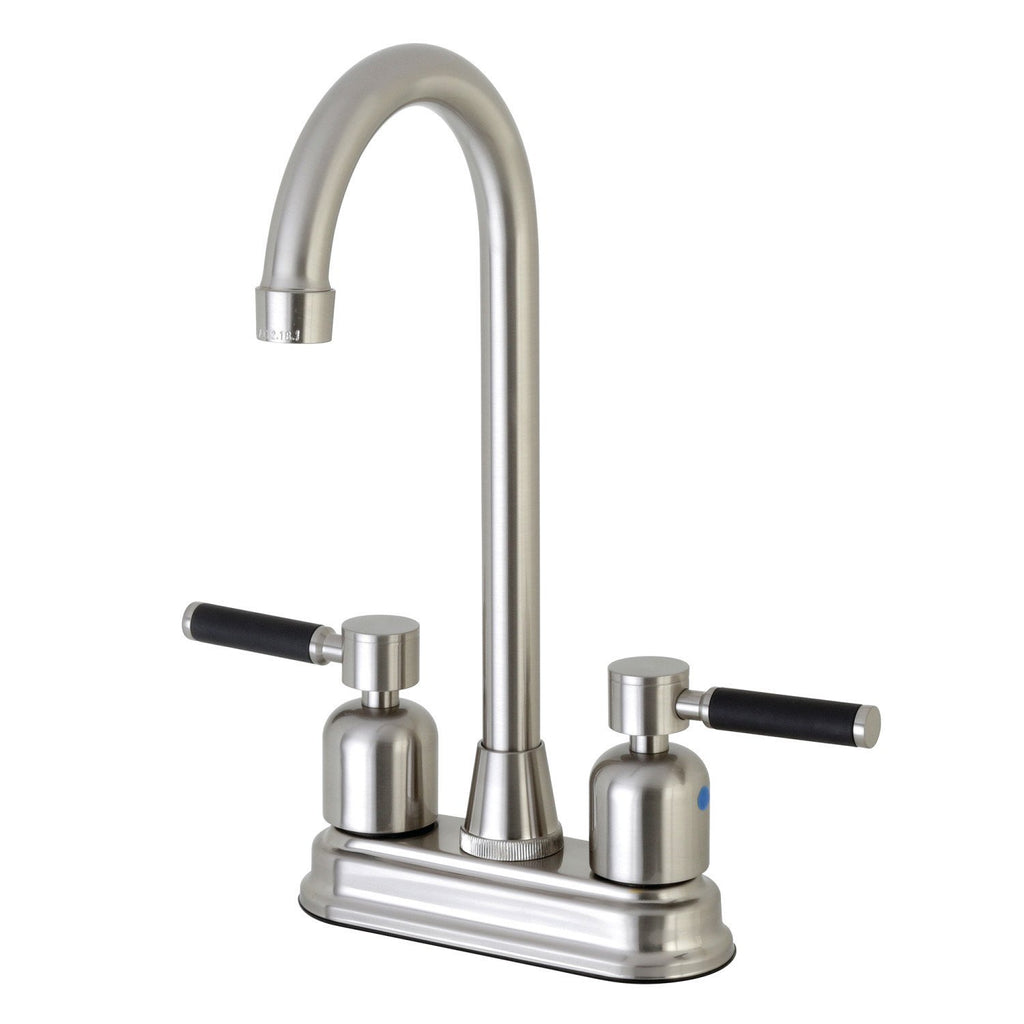 "Kaiser Two Handle 4"" Centerset 3-Hole High-Arch Spout Bar Prep Faucet w/Metal Lever, 1.5 gpm"