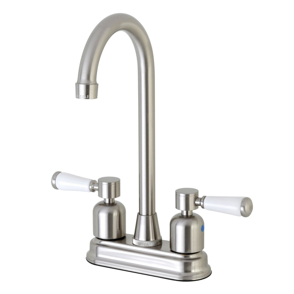 "Paris Two Handle 4"" Centerset 3-Hole High-Arch Spout Bar Prep Faucet w/Porcelain Lever, 1.5 gpm"
