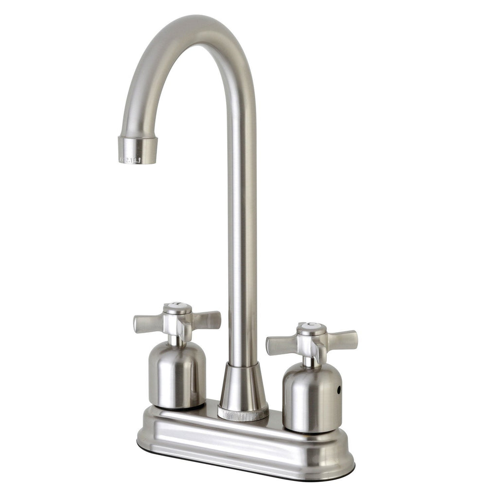 "Millennium Two Handle 4"" Centerset 3-Hole High-Arch Spout Bar Prep Faucet w/Metal Cross, 1.5 gpm"