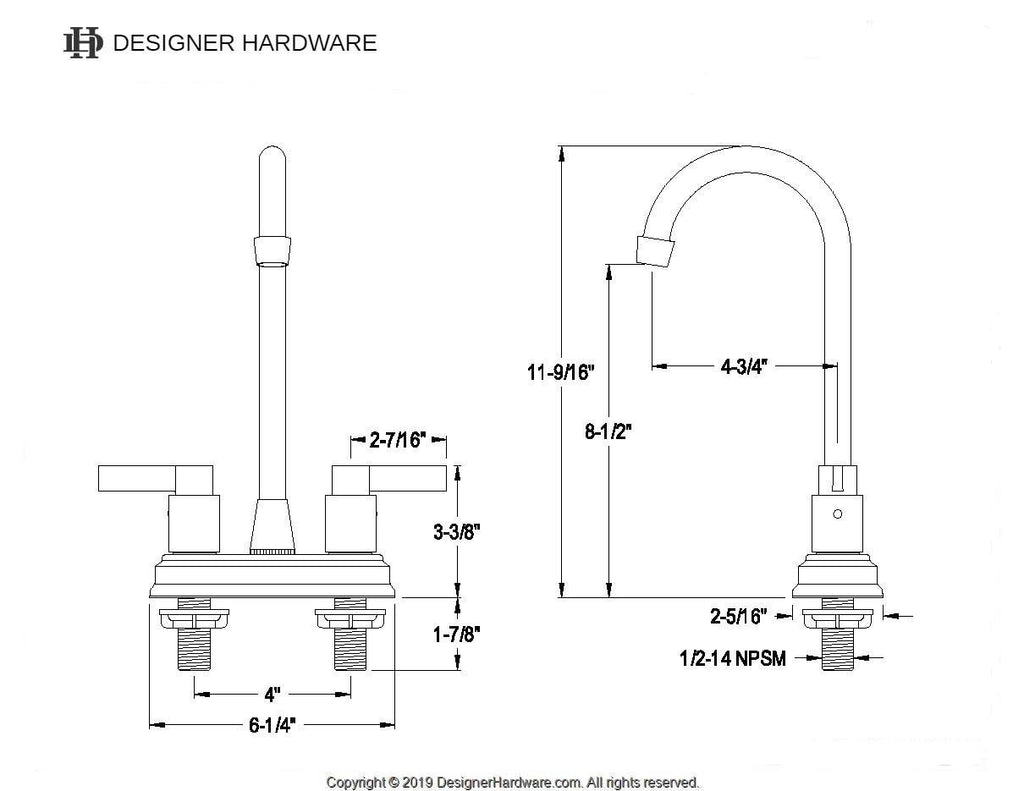 "NuvoFusion Two Handle 4"" Centerset 3-Hole High-Arch Bar Prep Faucet w/Metal Lever, 1.5 gpm"
