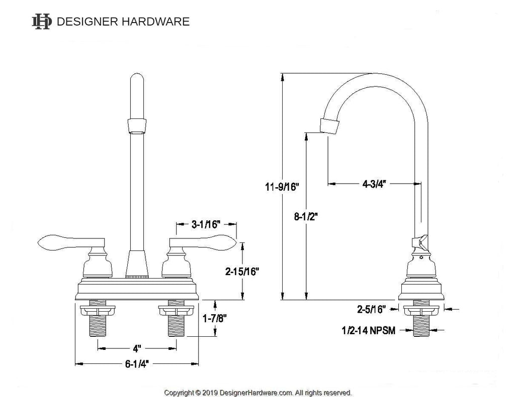 "NuWave Two Handle 4"" Centerset 3-Hole High-Arch Bar Prep Faucet w/Metal Lever, 1.5 gpm"