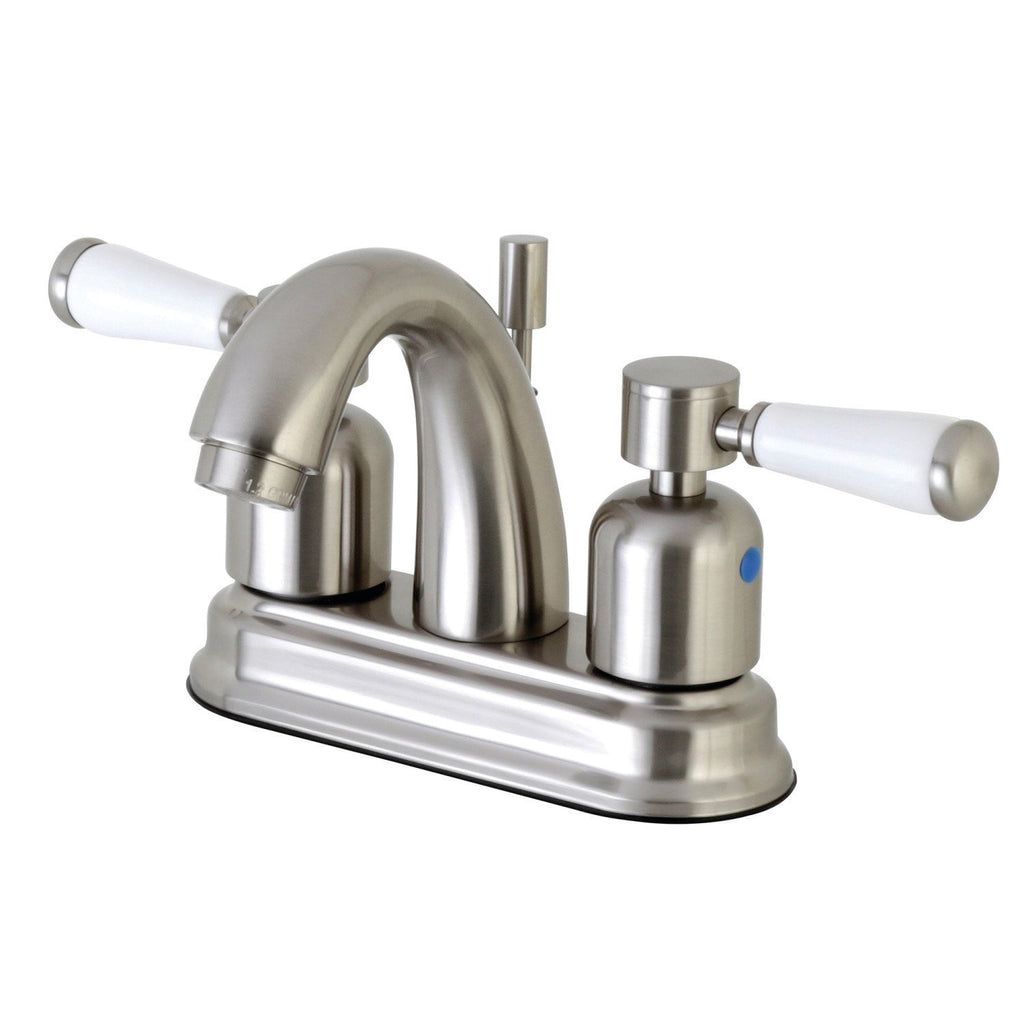 "Paris Two Handle 4"" Centerset 3-Hole Bathroom Faucet w/Porcelain Lever - Includes Pop-Up Drain, 1.2 gpm"