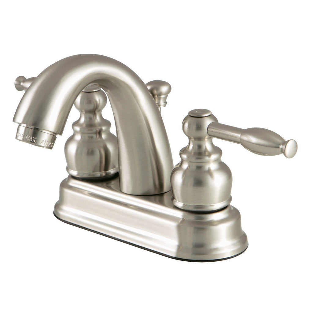 "Knight Two Handle 4"" Centerset 3-Hole Bathroom Faucet w/Metal Lever - Includes Pop-Up Drain, 1.2 gpm"