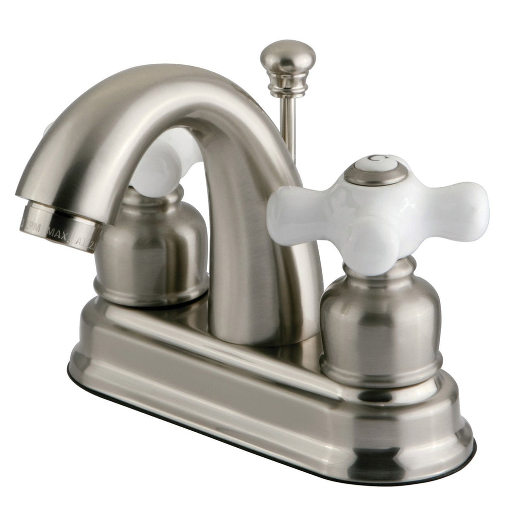 "Restoration Two Handle 4"" Centerset 3-Hole Bathroom Faucet w/Porcelain Cross - Includes Pop-Up Drain, 1.2 gpm"