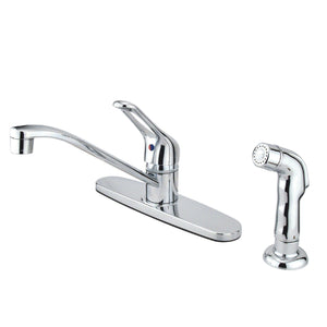 "Wyndham Two Handle 8"" Centerset 4-Hole Kitchen Faucet w/Metal Loop and Side Spray, 1.8 gpm"
