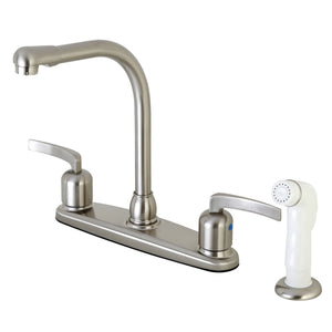 "Centurion Two Handle 8"" Centerset 4-Hole Kitchen Faucet w/Metal Lever and Side Spray, 1.8 gpm"